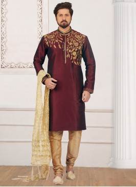 Wedding Function Wear Wine Color Kurta Pyjama