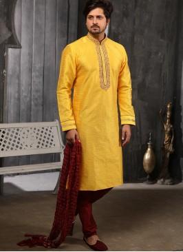 Wedding Function Wear Yellow Color Embroidered Kurta Pajama