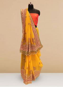 Wedding Function Wear Yellow Color Silk Saree