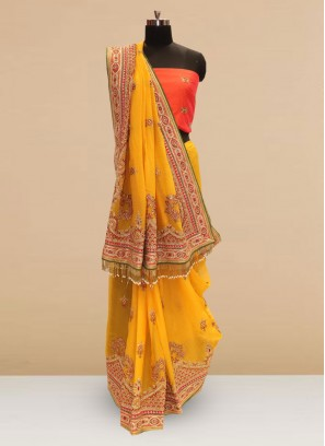 Wedding Function Wear Yellow Color Silk Saree