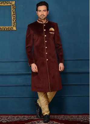 Wedding Wear Alluring Indo Western In Wine Velvet Fabric