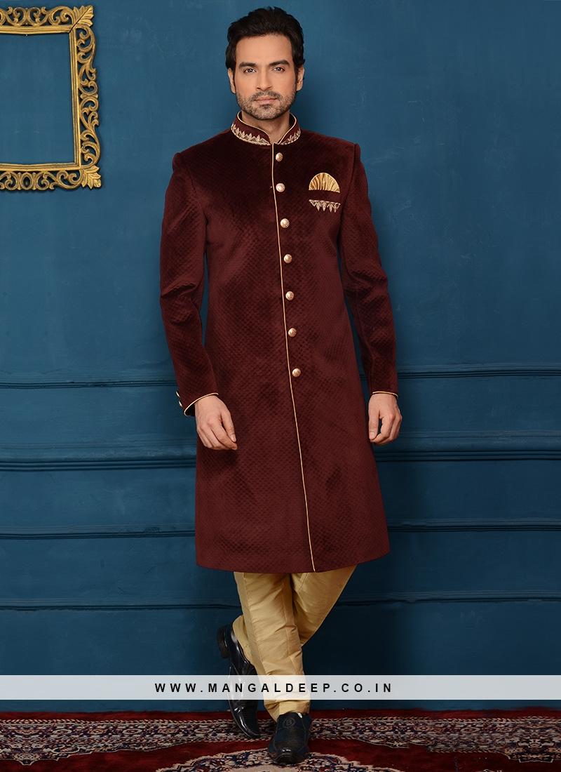 Wedding Wear Alluring Indo Western In Wine Velvet Fabric