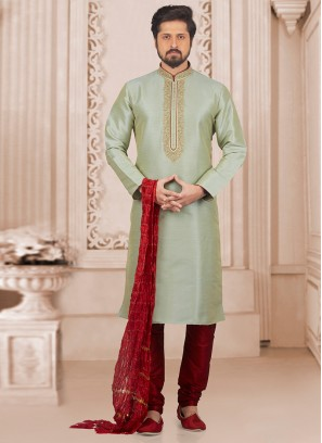 Wedding Wear Fancy Kurta Payjama In Green
