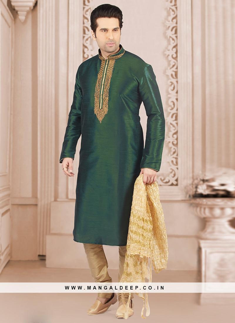 Wedding Wear Fancy Kurta Payjama In Green