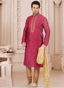 Wedding Wear Fancy Kurta Payjama In Pink