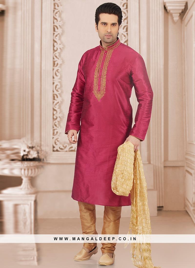 Wedding Wear Fancy Kurta Payjama In Pink