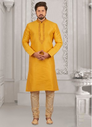 Wedding Wear Fancy Kurta Payjama In Yellow