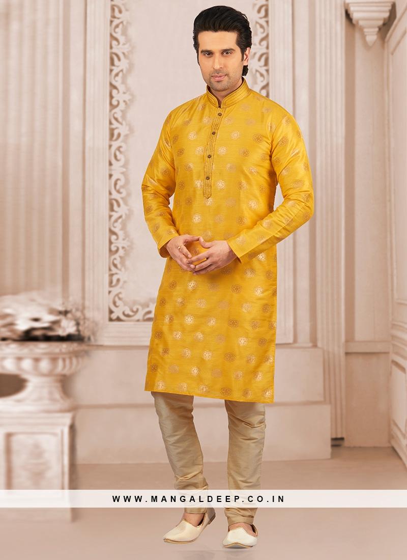 Wedding Wear Fancy Kurta Payjama In Yellow