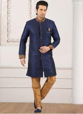 Wedding Wear Fancy Semi Indo Suit In Blue