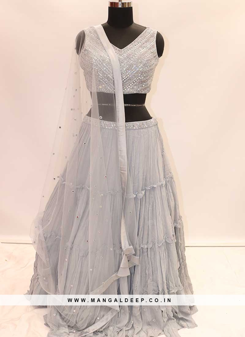 Wedding Wear Grey Georgette Lehenga Choli For Women