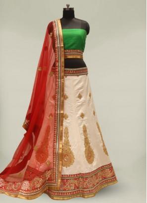 White And Red Color Silk Wedding Lehenga