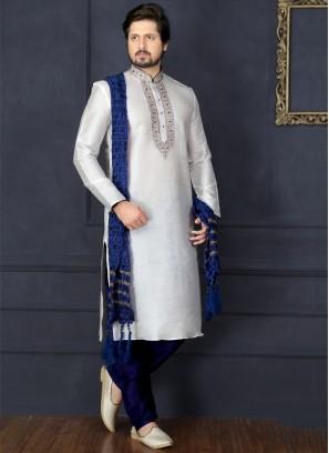 White Art Banarasi Silk Kurta Pajama
