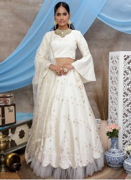 White Color Art Silk Lehenga Choli