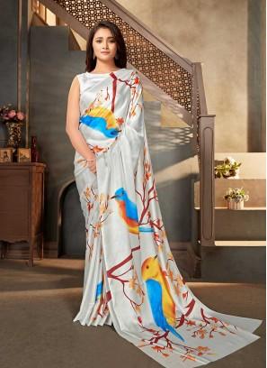 White Color Bird Print Saree