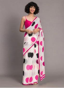 White Color Chanderi Fancy Saree