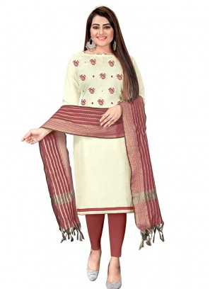 White Color Cotton Dress Material