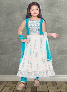 White Color Cotton Silk Baby Girl Salwar Suit