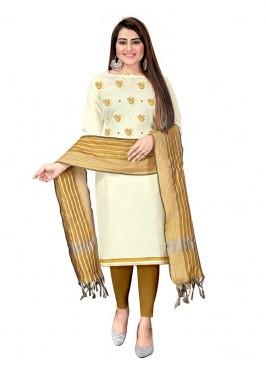 White Color Cotton Unstitched Dress