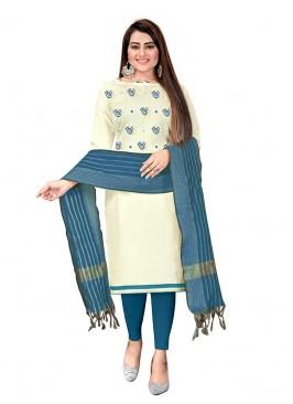 White Color Cotton Unstitched Salwar Suit