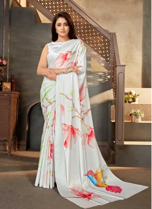 White Color Digital Printed Saree