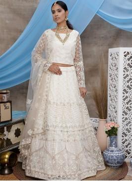 White Color Embroidered Wedding Lehenga