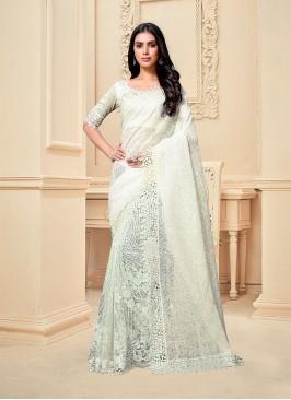 White Color Fancy Fabric Net Border Saree