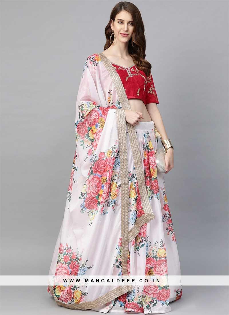 White Color Floral Print Lehenga