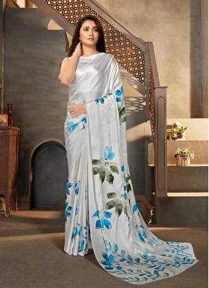 White Color Flower Print Saree