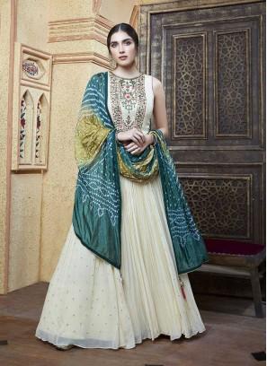 White Color Georgette Anarkali Dress