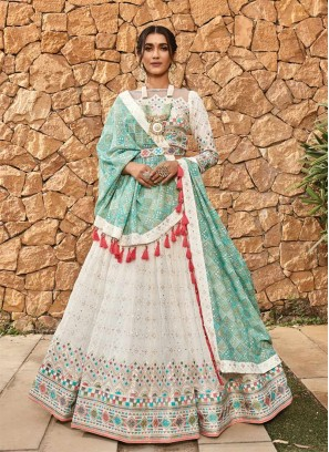 White Color Mirror Work Execlusive Lehenga