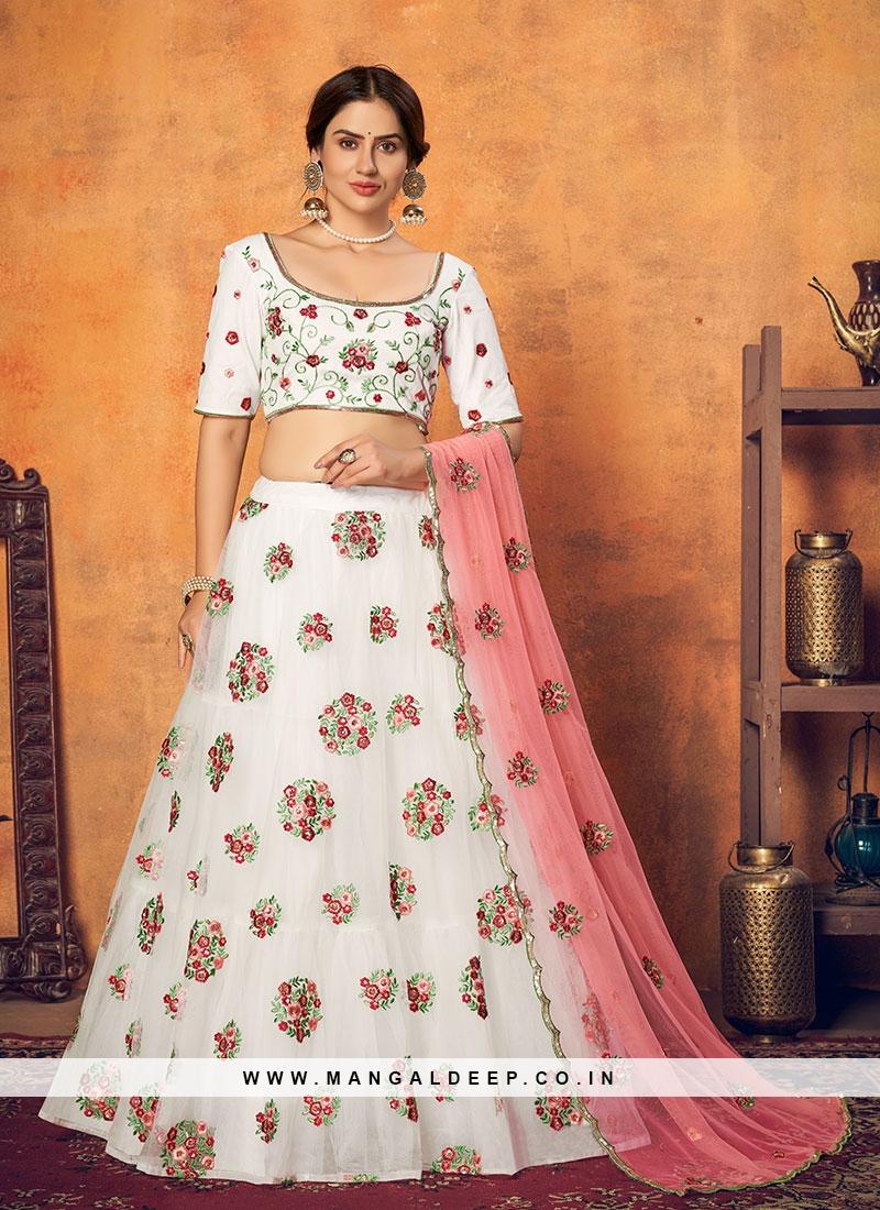 White Color Net Bridal Lehenga
