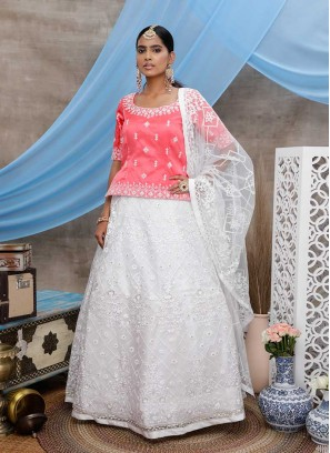 White Color Net Embroidered Lehenga