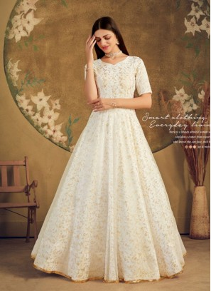 White Color Net Long Gown