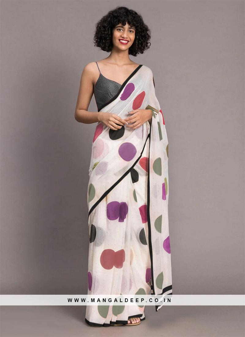 White Color New Design Saree