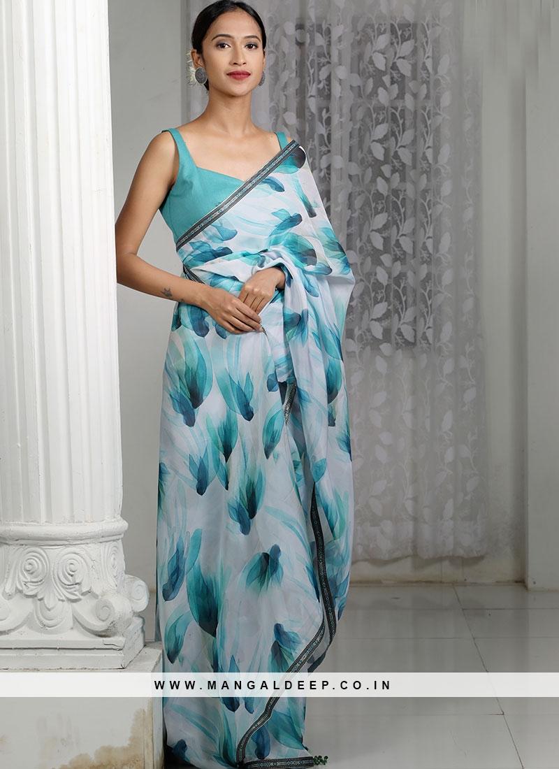 White Color Organza Designer Saree