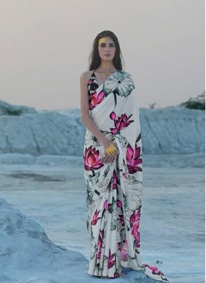 White Color Printed Exclusive Saree