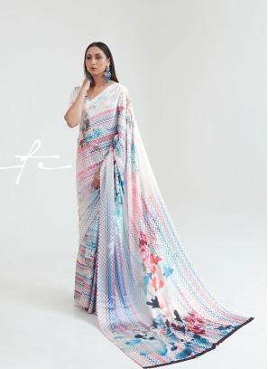 White Color Satin Printed Saree