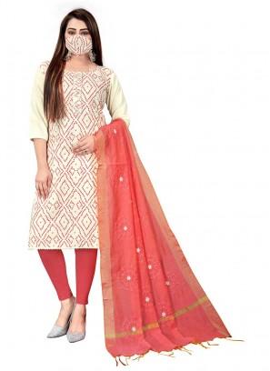 White Color Slub Cotton Unstitched Dress