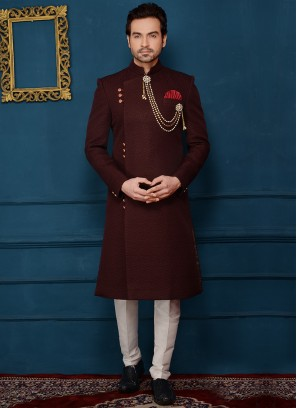 Wine Attractive Indo Western In Imported Jaquard Fabric