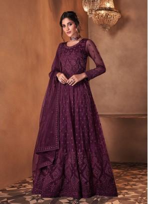 Wine Color Butterfly Net Anarkali Gown