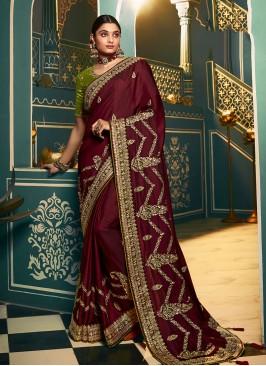 Wine Color Chiffon Designer Saree