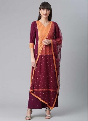 Wine Color Crepe Kurti Dress