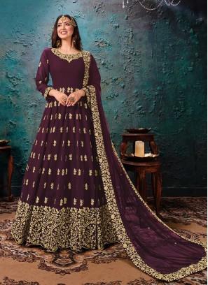 Wine Color Georgette Anarkali Dress
