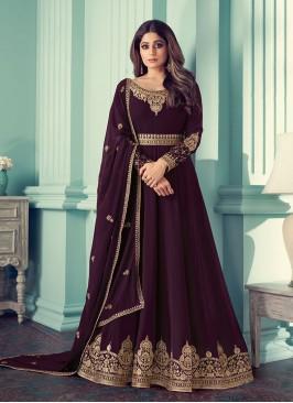 Wine Color Georgette Anarkali Suit By Shamita Shetty