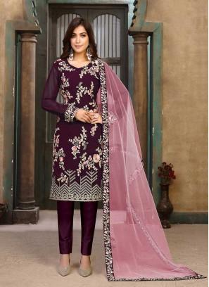 Wine Color Georgette Thread Work Salwar Suit