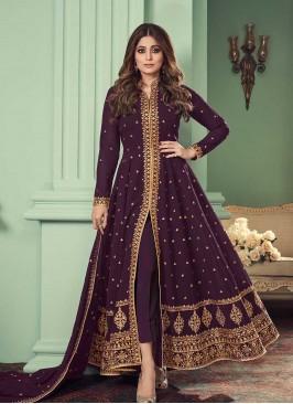 Wine Color Goegrtte Long Anarkali Dress