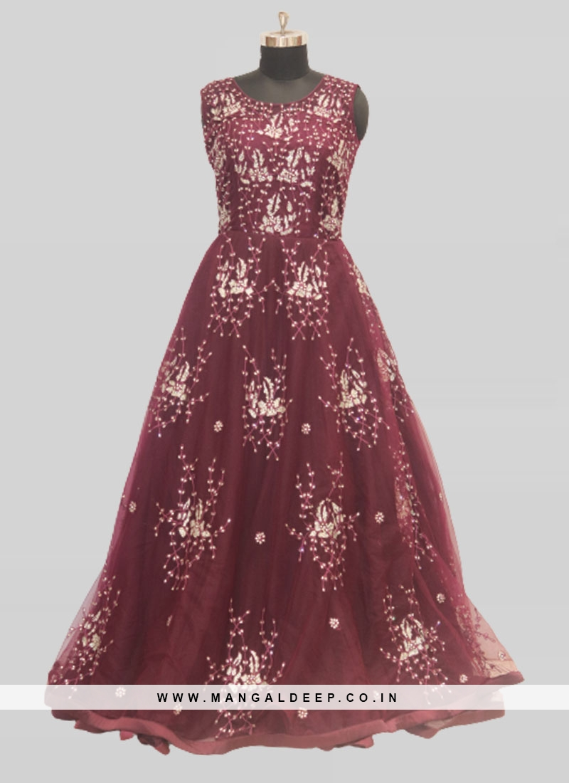 Wine Color Net Stone Work Party Wear Gown