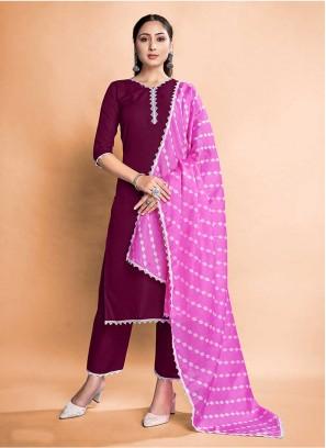 Wine Color Rayon Readymade Dress