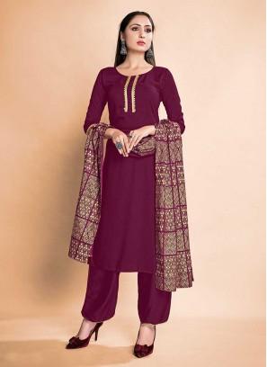 Wine Color Rayon Readymade Salwar Suits