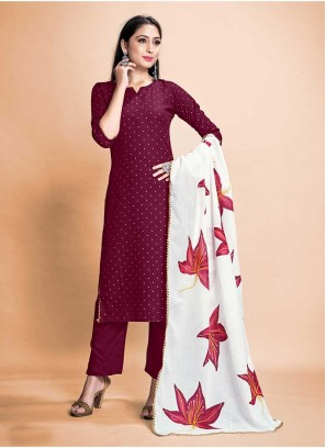 Wine Color Rayon Salwar Suit